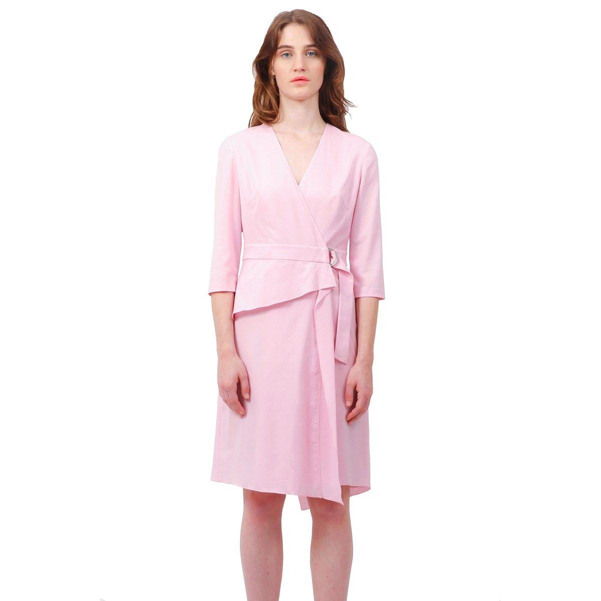 Robe portefeuille mi longue couleur rose