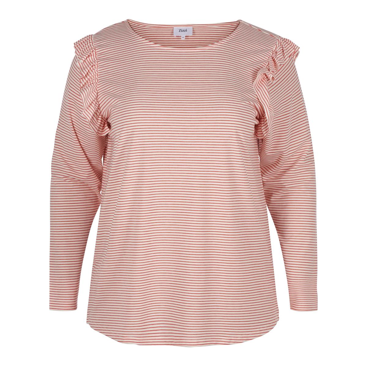 Блузка в полоску  воланами  плечах