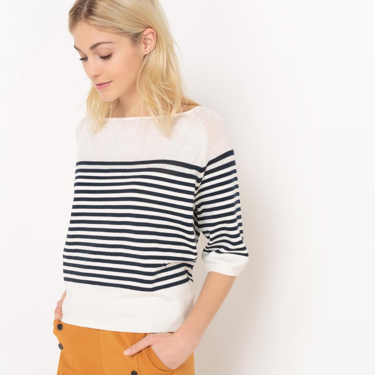 Пуловер в полоску в морском стиле с вырезом-лодочкой