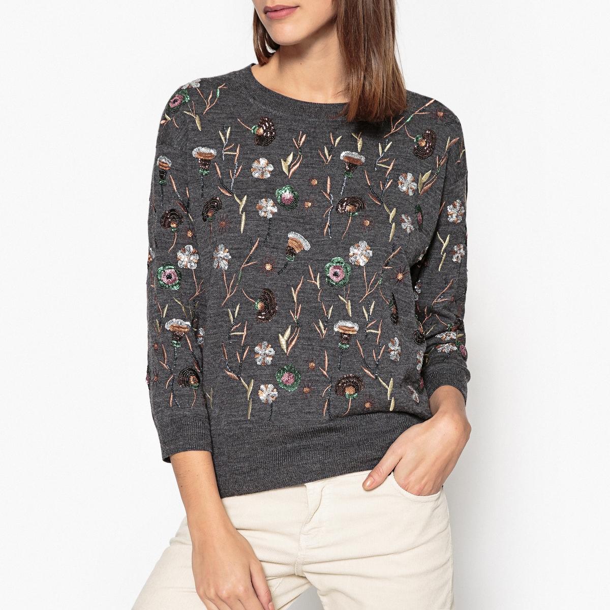 Пуловер с вышивкой и блесткамиОписание:Пуловер ESSENTIEL ANTWERP - модель GARDEN с вышитыми узорами и блестками .Детали •  Длинные рукава •  Круглый вырез •  Тонкий трикотаж  •  Цветочный рисунок  Состав и уход •  90% шерсти, 10% кашемира •  Подкладка : 8% эластана, 92% полиамида •  Следуйте советам по уходу, указанным на этикетке •   Отделка в рубчик<br><br>Цвет: серый