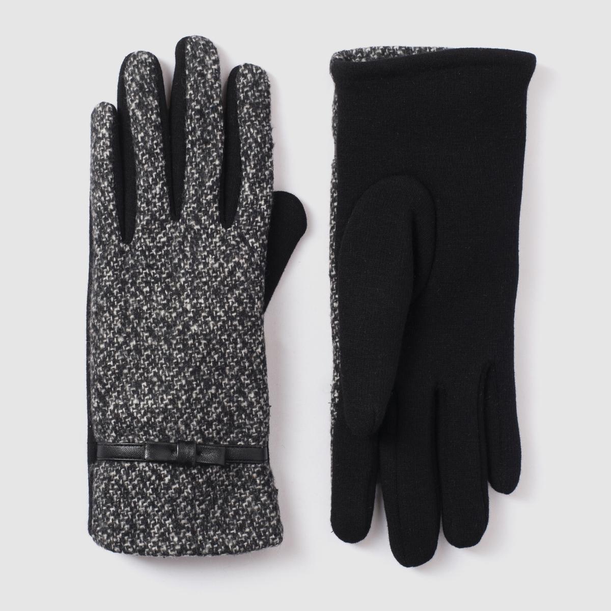 Перчатки из оригинального твидаПерчатки из твида. 100% полиэстера. Один размер.<br><br>Цвет: черный/серый