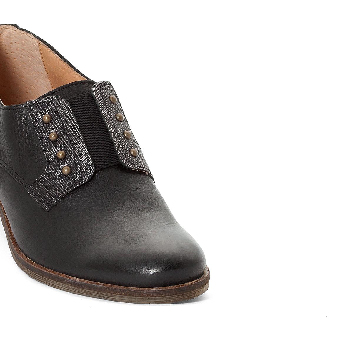 Ботинки-дерби кожаные LowВерх : кожа      Подкладка : невыделанная кожа     Стелька : невыделанная кожа     Подошва : синтетика     Высота каблука : 2,5 см     Застежка : без застежки<br><br>Цвет: черный/ серебристый<br>Размер: 37