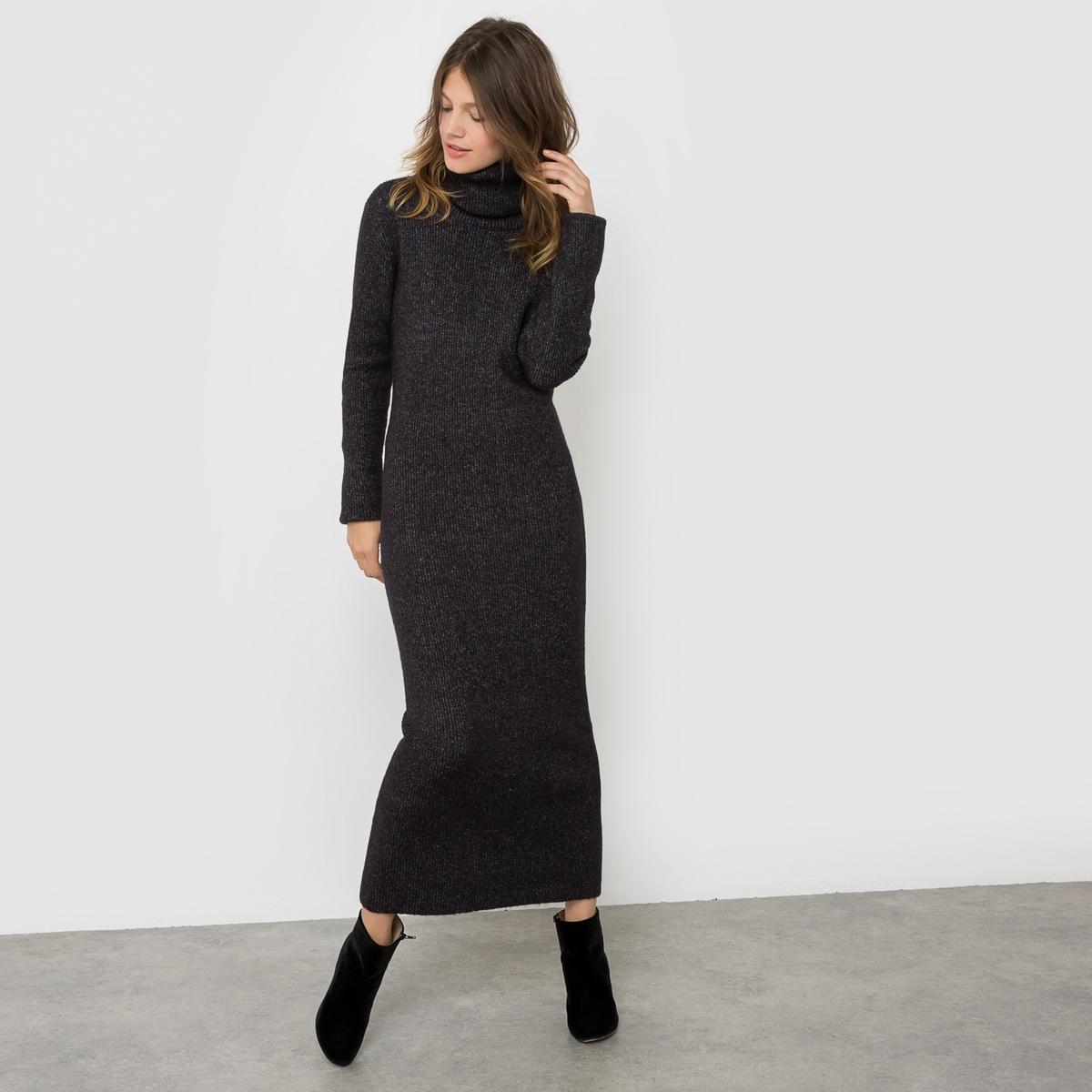 Платье-пуловерПлатье длинное NANCY от AND LESS . Платье-пуловер длинное удобного покроя. Отворачивающийся воротник. Состав и описание :Материал : 41% акрила, 25% шерсти, 24% полиэстера, 5% мохера, 5% эластанаМарка : AND LESS.<br><br>Цвет: антрацит
