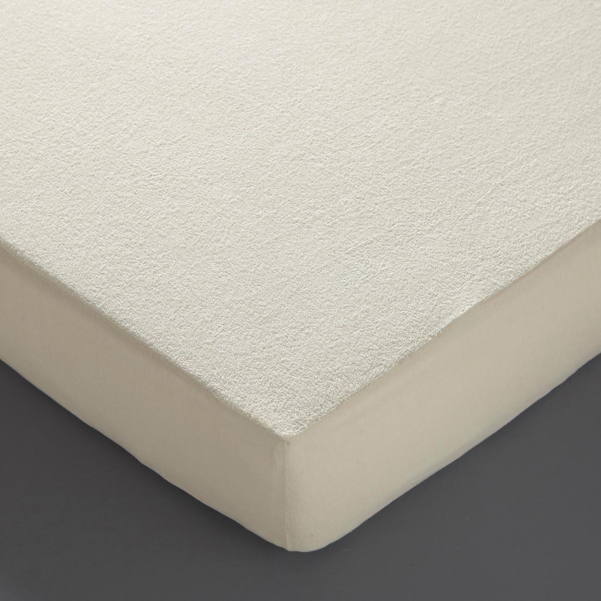 Чехол защитный для матраса из махровой ткани BioМахровая ткань из биохлопка. Характеристики :- Чехол-простыня из махровой ткани 78% хлопка, 22% полиэстера (лямки 100% хлопок) сверху- Дышащая полиуретановая пленка снизу- Клапаны: джерси 100% хлопок, очень эластичный- 80 г/м2- Высота 27 см- На резинках по всему периметру, 4 натяжных уголка.<br><br>Цвет: экрю<br>Размер: 90 x 190 см