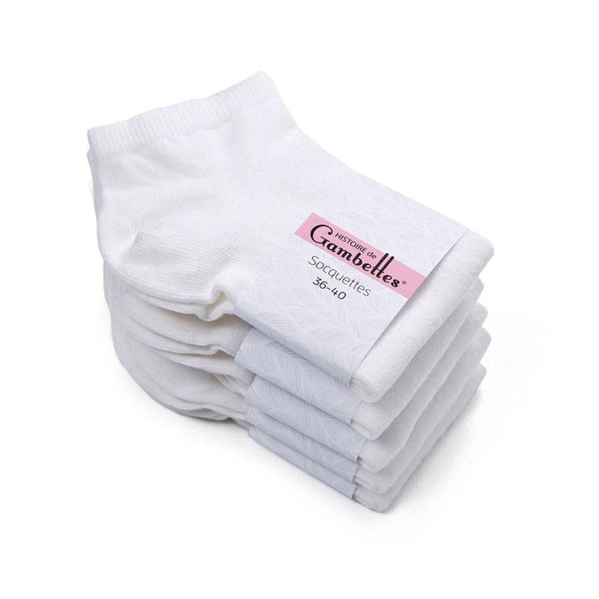 Socquettes coton  Lot 5 paires - Fabriqué en europe