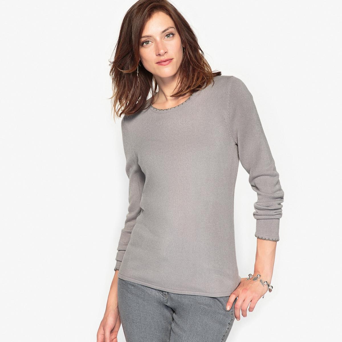 Пуловер из ткани, напоминающей на ощупь кашемир, отделка бусинамиКомфортный пуловер. Красивая отделка краев выреза и рукавов бусинами в тон. Приспущенные проймы. Мягкий трикотаж, напоминающий на ощупь кашемир.Состав и описание : Материал : трикотаж, напоминающий на ощупь кашемир, 100% акрил.Длина 62 см. Марка : Anne WeyburnУход :Машинная стирка при 30 °С в умеренном режиме с изнаночной стороны.Не гладить.<br><br>Цвет: изумрудный,серый,экрю<br>Размер: 50/52 (FR) - 56/58 (RUS).42/44 (FR) - 48/50 (RUS).50/52 (FR) - 56/58 (RUS).38/40 (FR) - 44/46 (RUS)