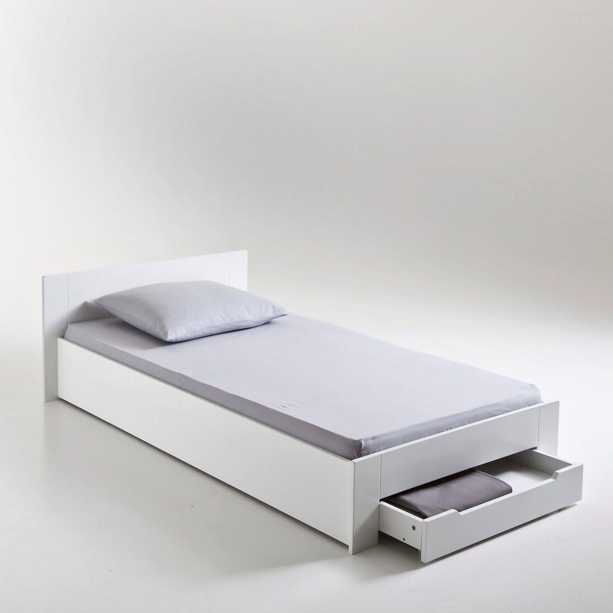 Кровать LaRedoute 1-спальная с сеткой и ящиком Crawley 90 x 190 см белый матрас laredoute для кровати с ящиком 90 x 180 x 12 белый