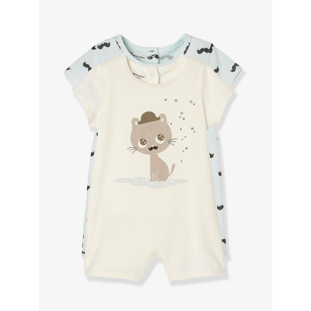7c966fd5e722c Lot de 2 pyjashorts bébé en coton. VERTBAUDET. Pyjashorts bleus ...