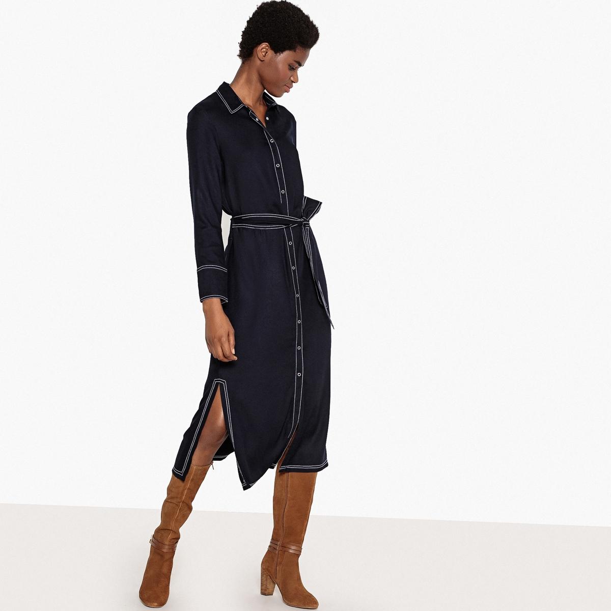 Платье-рубашка с поясом и длинными рукавами