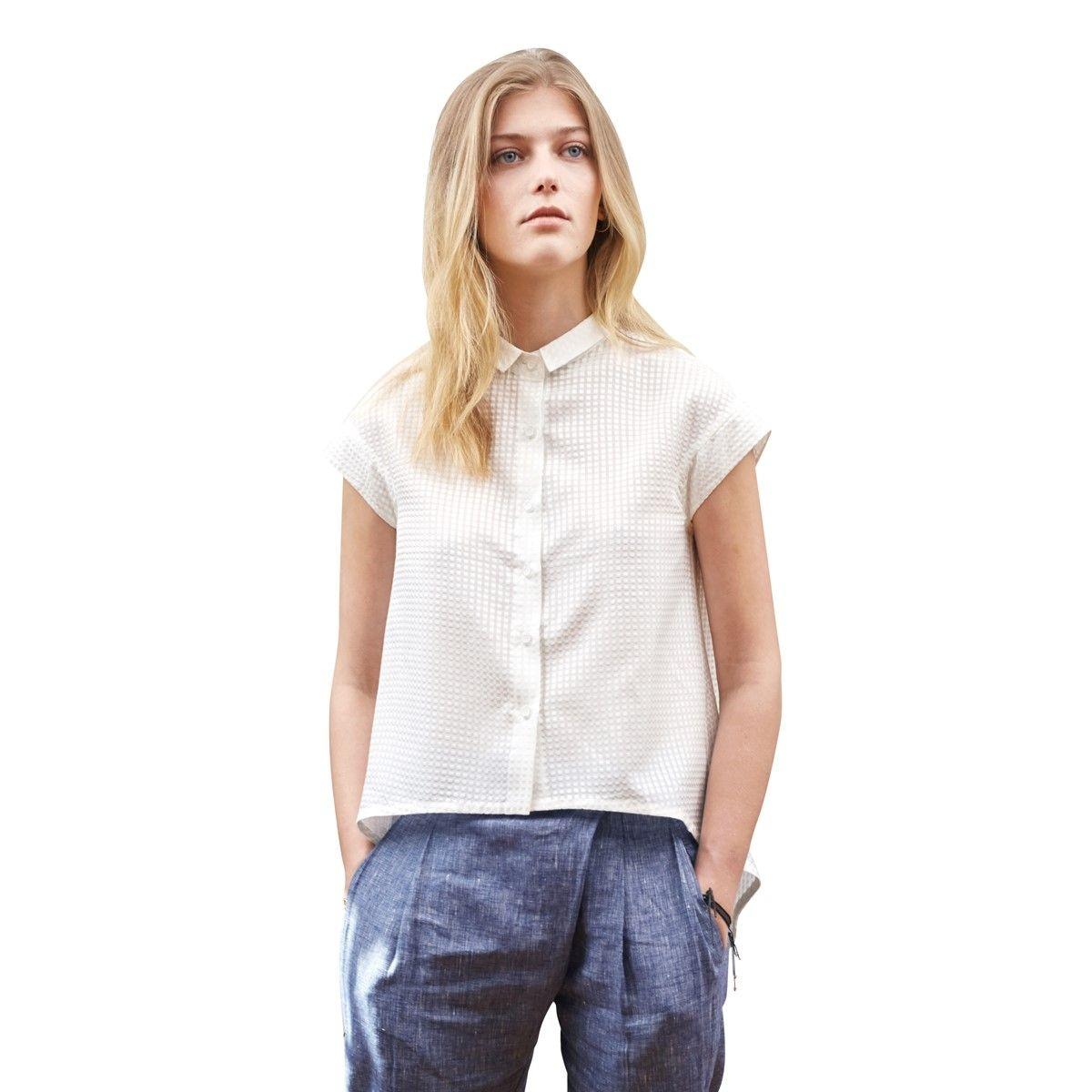 Chemise blanche Femme décontractée manches courtes soie coton