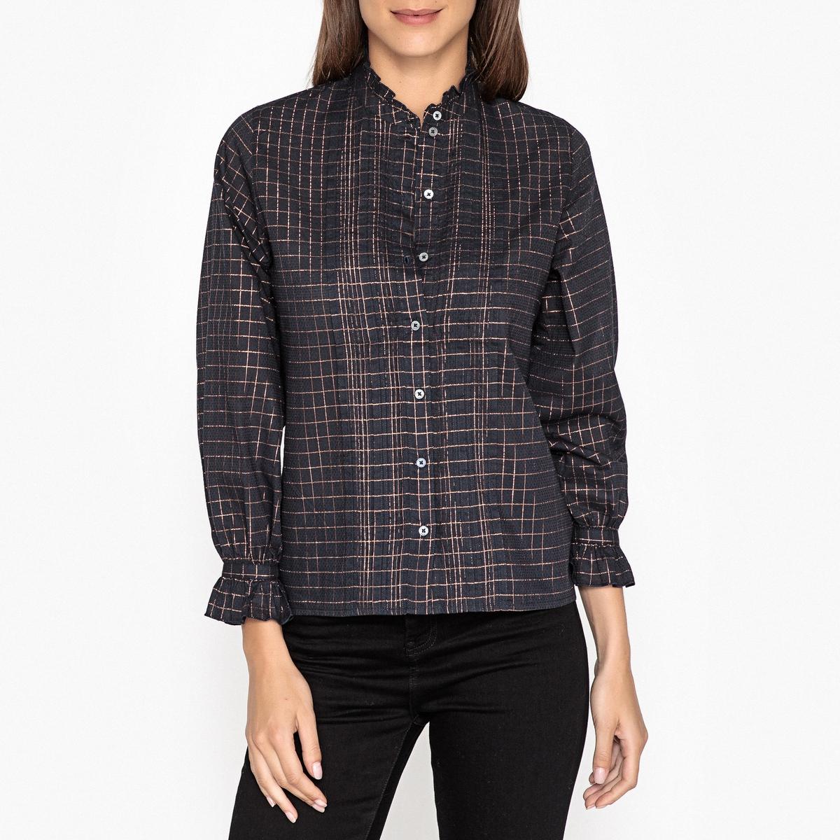 Рубашка с воротником-стойкой  принтом  клетку EMMA