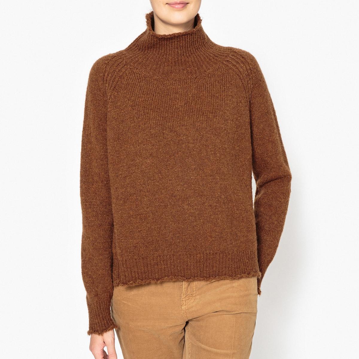 Пуловер с высоким воротником из шерсти меланж
