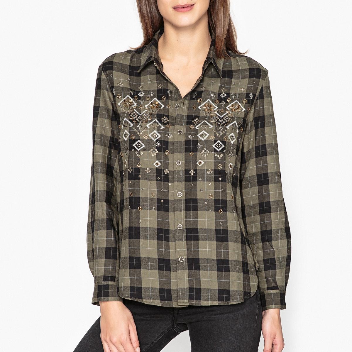 Рубашка в клетку с бисером и вышивкой вышивка бисером молящийся христос