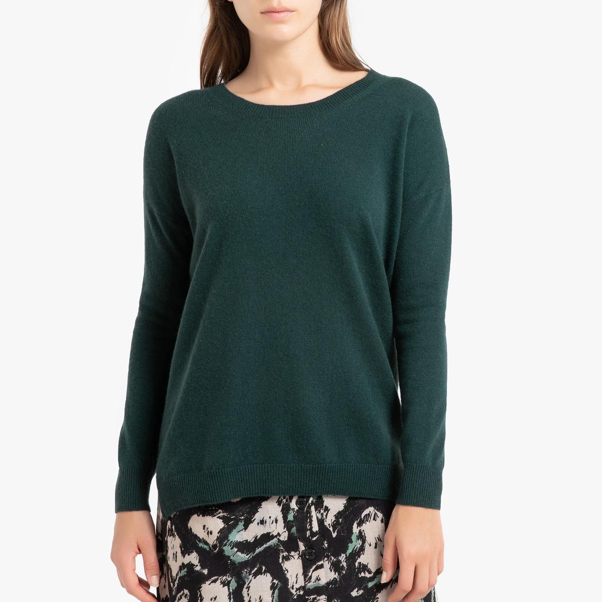 Пуловер La Redoute Кашемировый с круглым вырезом из тонкого трикотажа CHARLOTTE 1(S) зеленый