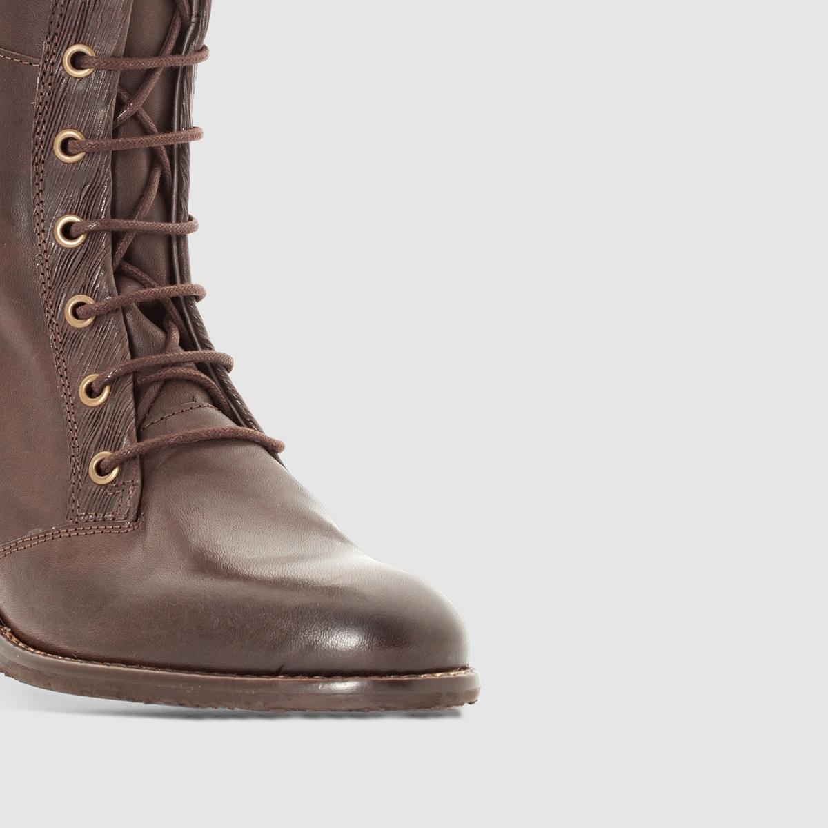 Сапоги из кожи на шнуровке RubyВерх/ Голенище : Яловичная кожа    Подкладка : Кожа   Стелька :  Кожа   Подошва : каучук.   Высота голенища : 42,5 см.    Застежка : шнуровка.<br><br>Цвет: темный каштан,черный<br>Размер: 39.38.37.39