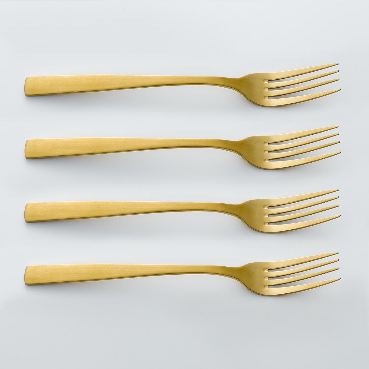 Confezione 4 forchette finitura dorata, AUBERIE
