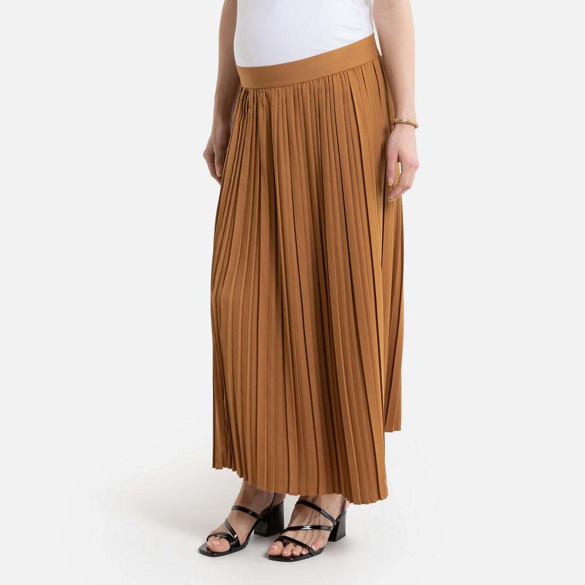Falda larga plisada de premamá