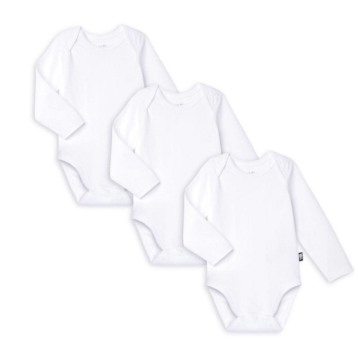 Lot de 3 bodies bébé mixte manches longues Basique