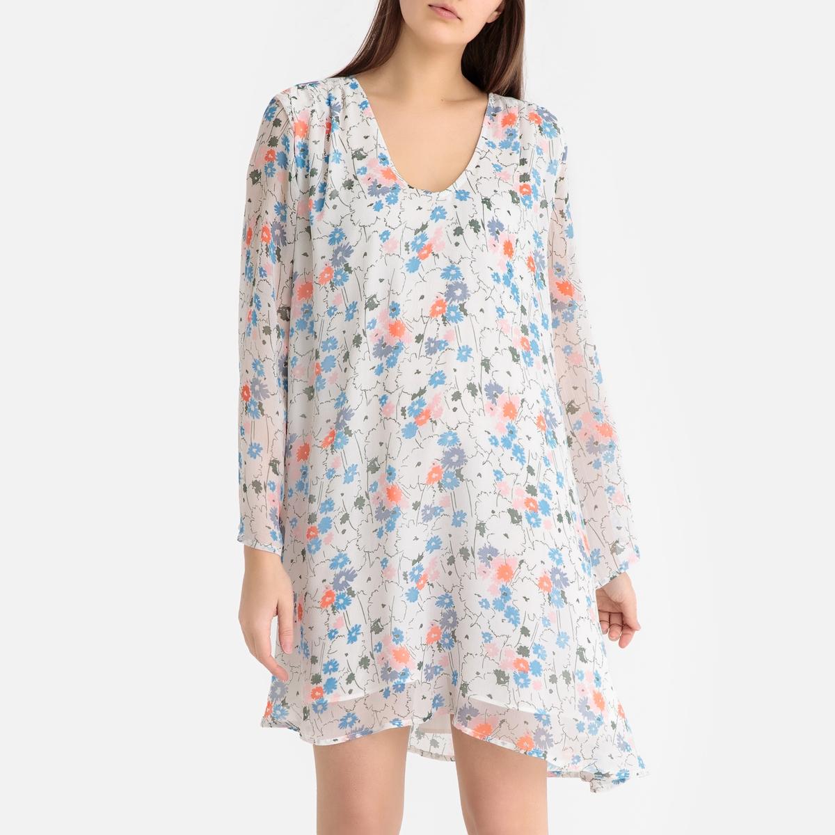 Платье La Redoute Из вуали с цветочным рисунком AMANDINE NAHY XS каштановый платье la redoute длинное amandine s разноцветный