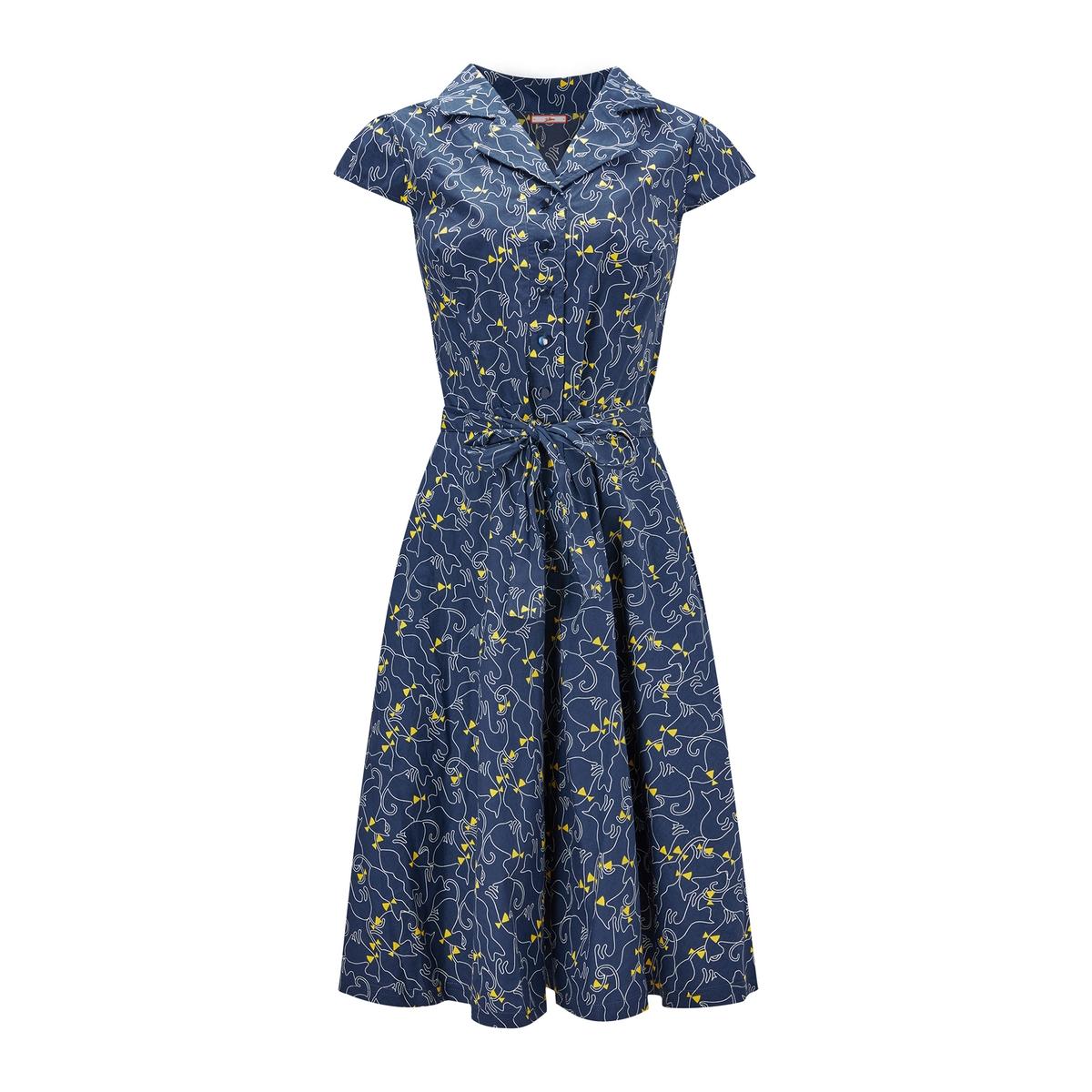 Платье расклешенное с рубашечным воротником и цветочным рисунком