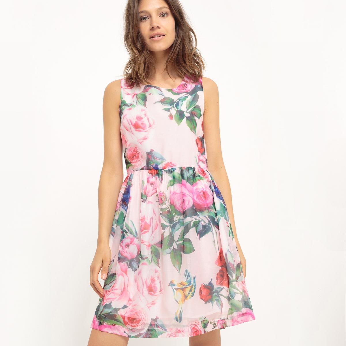 Платье без рукавов с цветочным рисункомМатериал : 100% полиэстер  Длина рукава : без рукавов Особенность пояса : Эластичный пояс Форма воротника : Круглый вырез Покрой платья : расклешенное платье. Рисунок : цветочный.   Длина платья : короткое.<br><br>Цвет: цветочный рисунок<br>Размер: XS