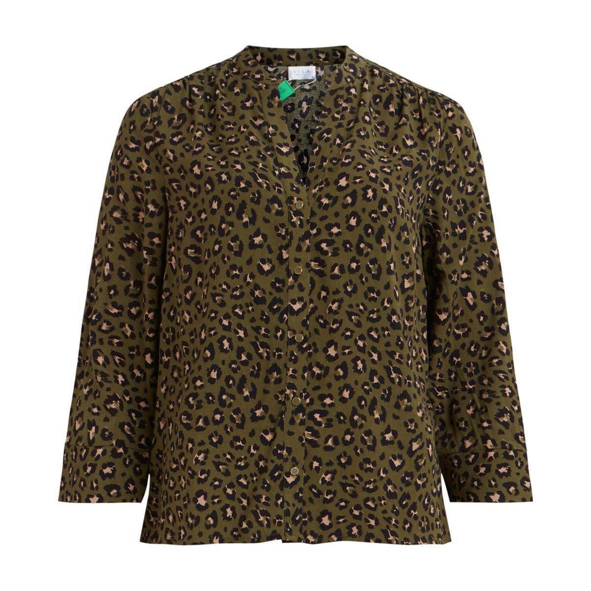 Фото - Блузка La Redoute С рукавами 34 леопардовый принт 34 (FR) - 40 (RUS) зеленый брюки la redoute из денима с высоким поясом 34 fr 40 rus зеленый