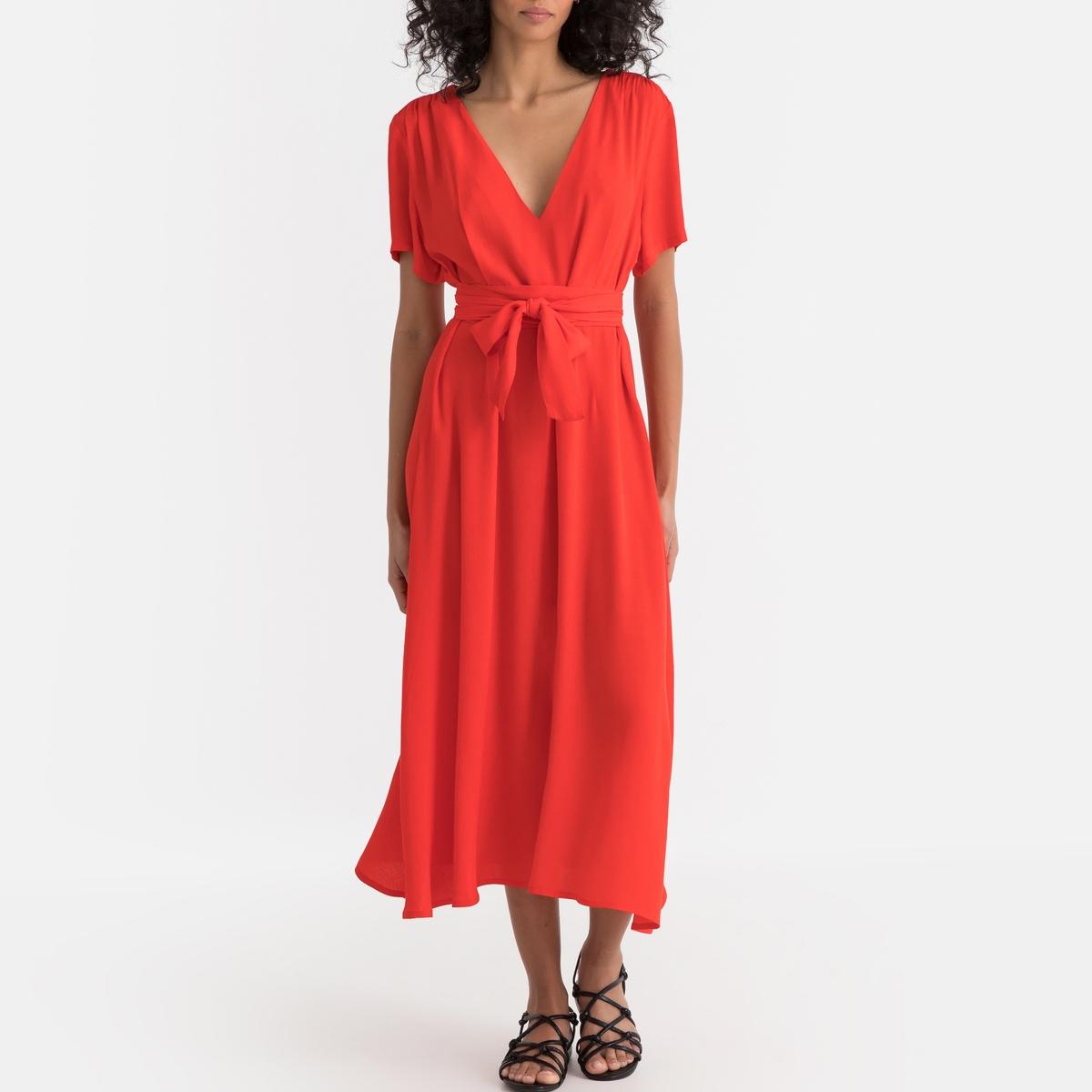 Платье La Redoute Длинное с V-образным вырезом и короткими рукавами XS красный недорого