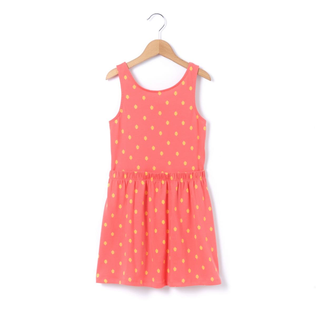 Платье без рукавов с рисунком и открытой спинкой 3-12 лет