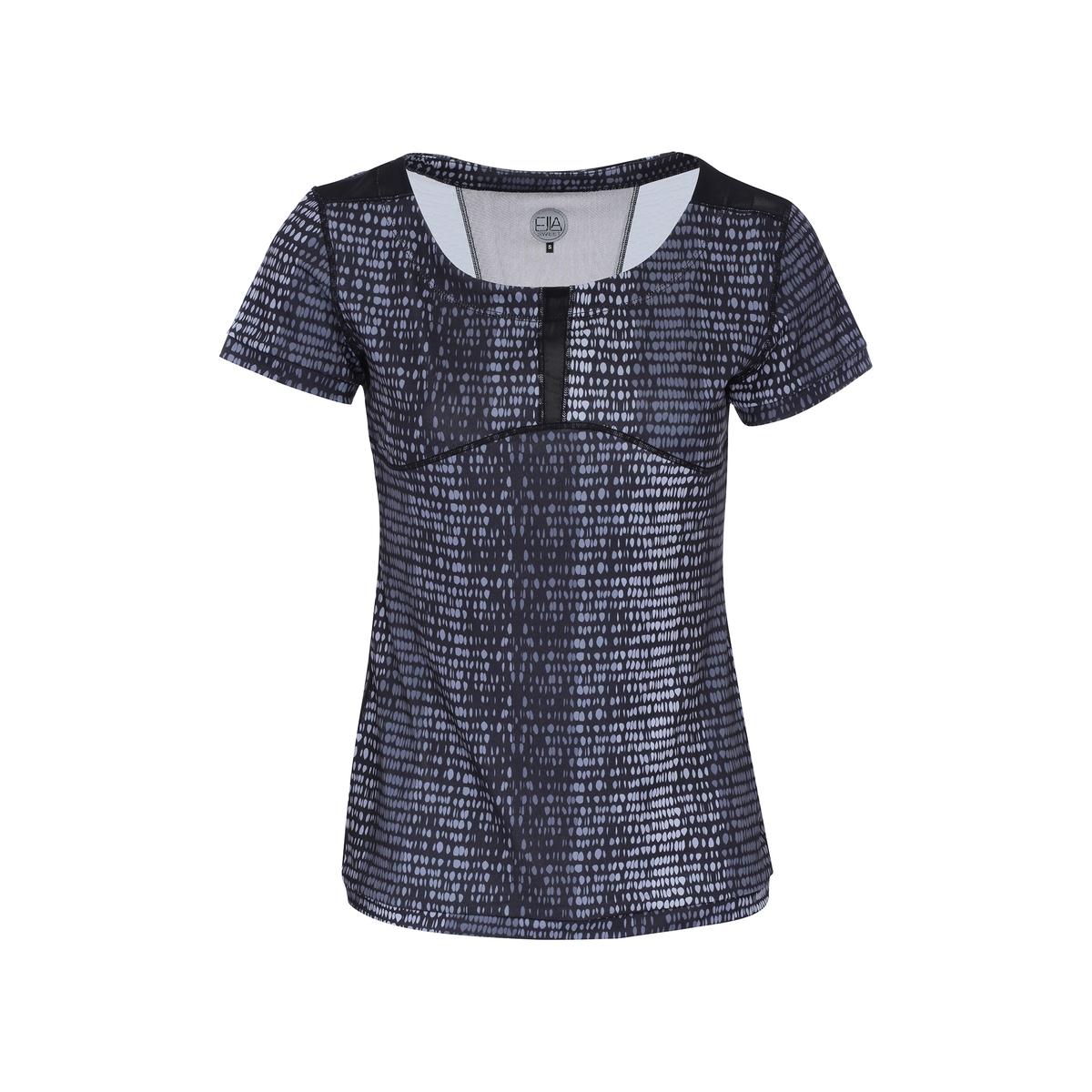 Футболка LILIНевероятно женственная футболка облегающего покроя со вставкой из вуали сзади идеальна для занятия любым видом спорта. Машинная стирка при 30°C. 90% полиэстера 10% эластана.<br><br>Цвет: рисунок черный/серый