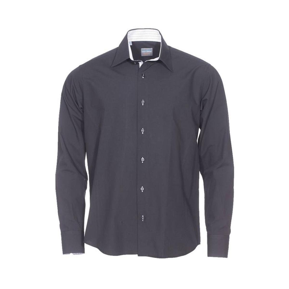 Chemise droite   en coton   à opposition   à petits motifs