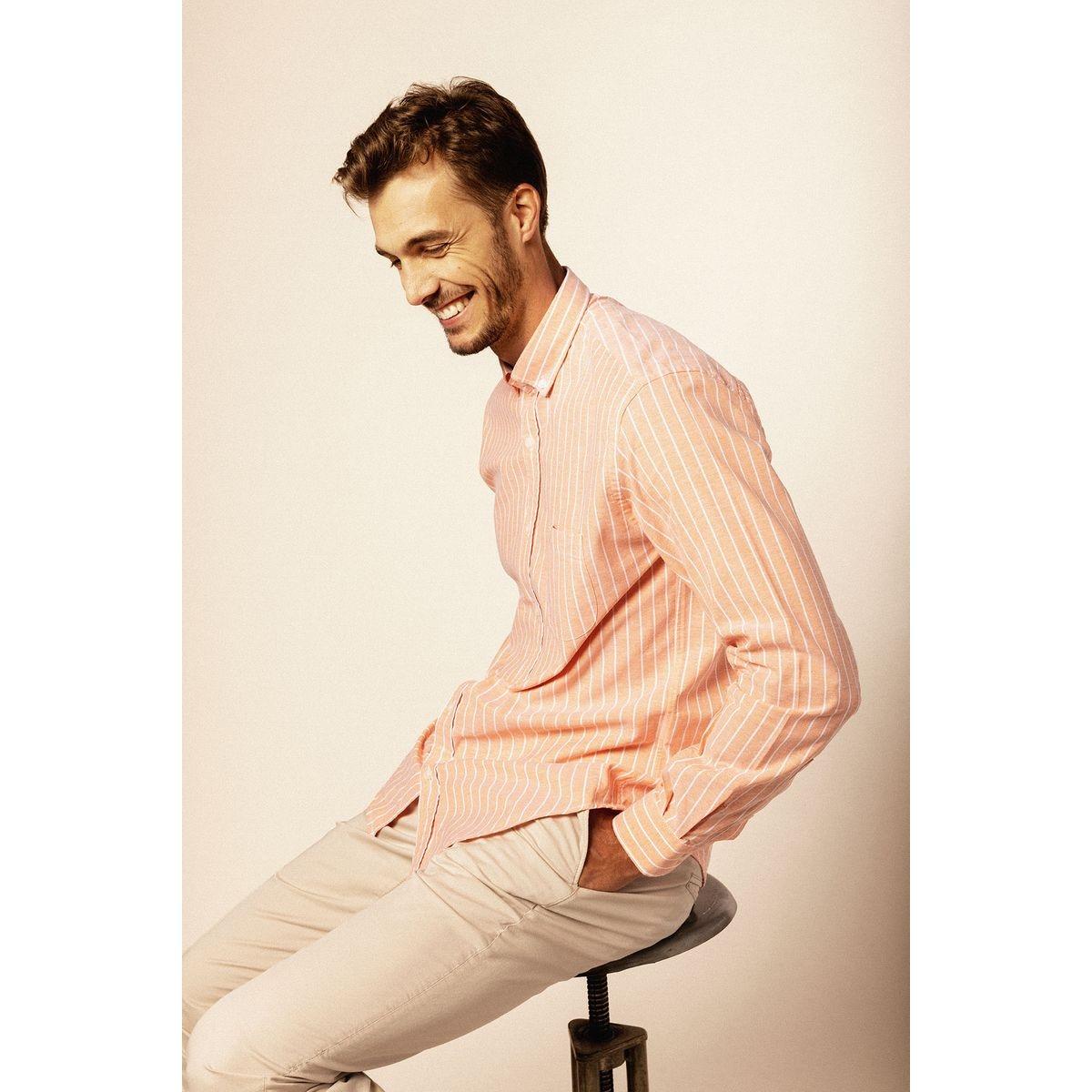 Chemise manches longues en oxford à rayures