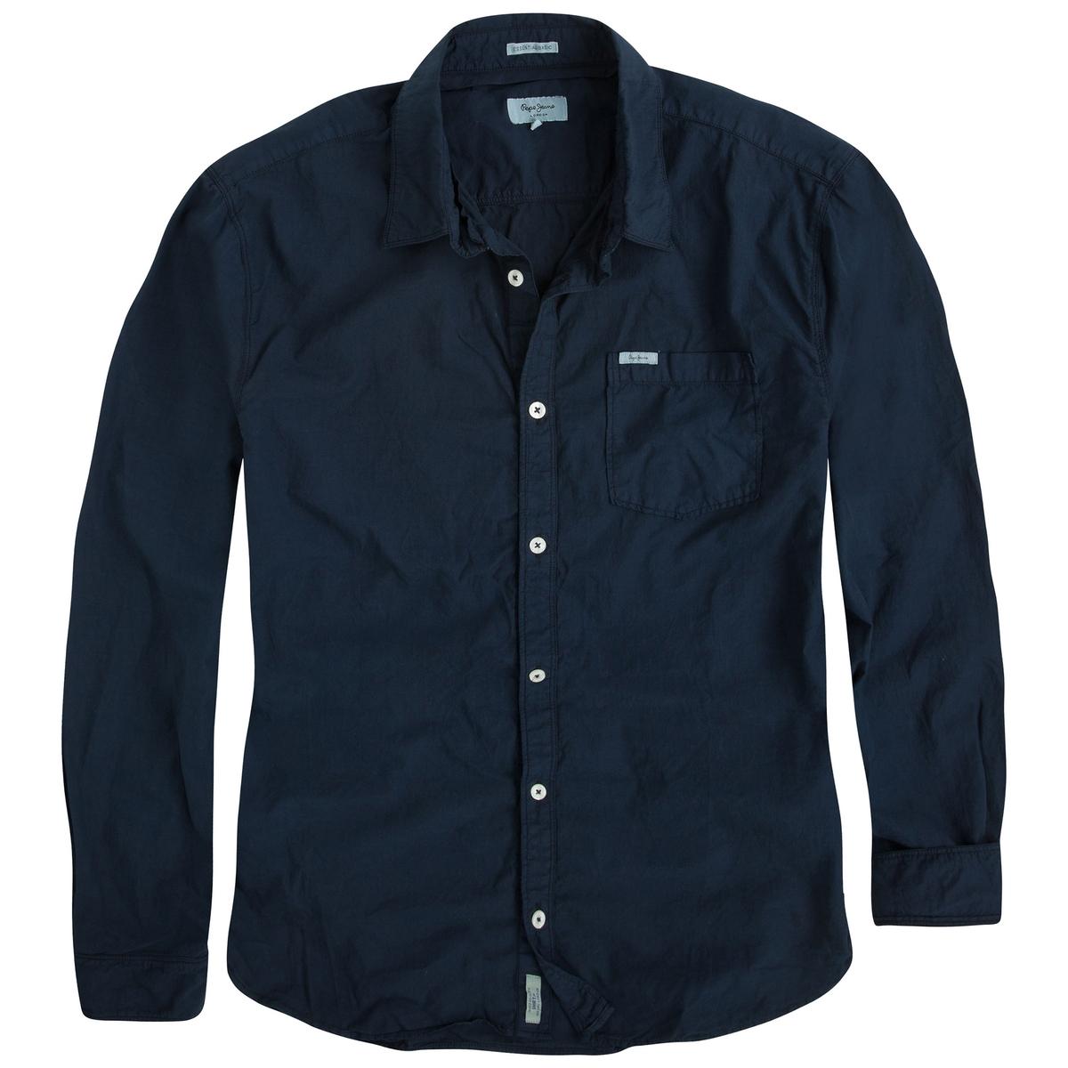 Рубашка Moringa из хлопкаОднотонная рубашка MORINGA от марки PEPE JEANS®.  - Длинные рукава с манжетами на пуговицах- Прямой покрой, слегка закругленный низ- Классический воротник со свободными уголками. - 1 нагрудный карманСостав и описание :Основной материал : 100% хлопокМарка : PEPE JEANS®Уход :Следуйте рекомендациям, указанным на этикетке изделия.<br><br>Цвет: темно-синий<br>Размер: S