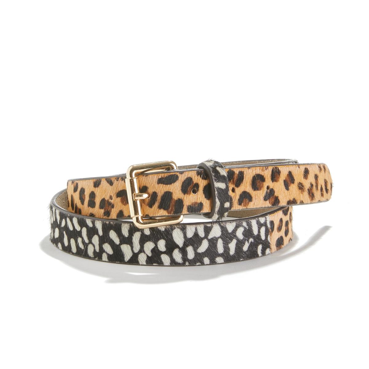 Cinturón de piel efecto leopardo