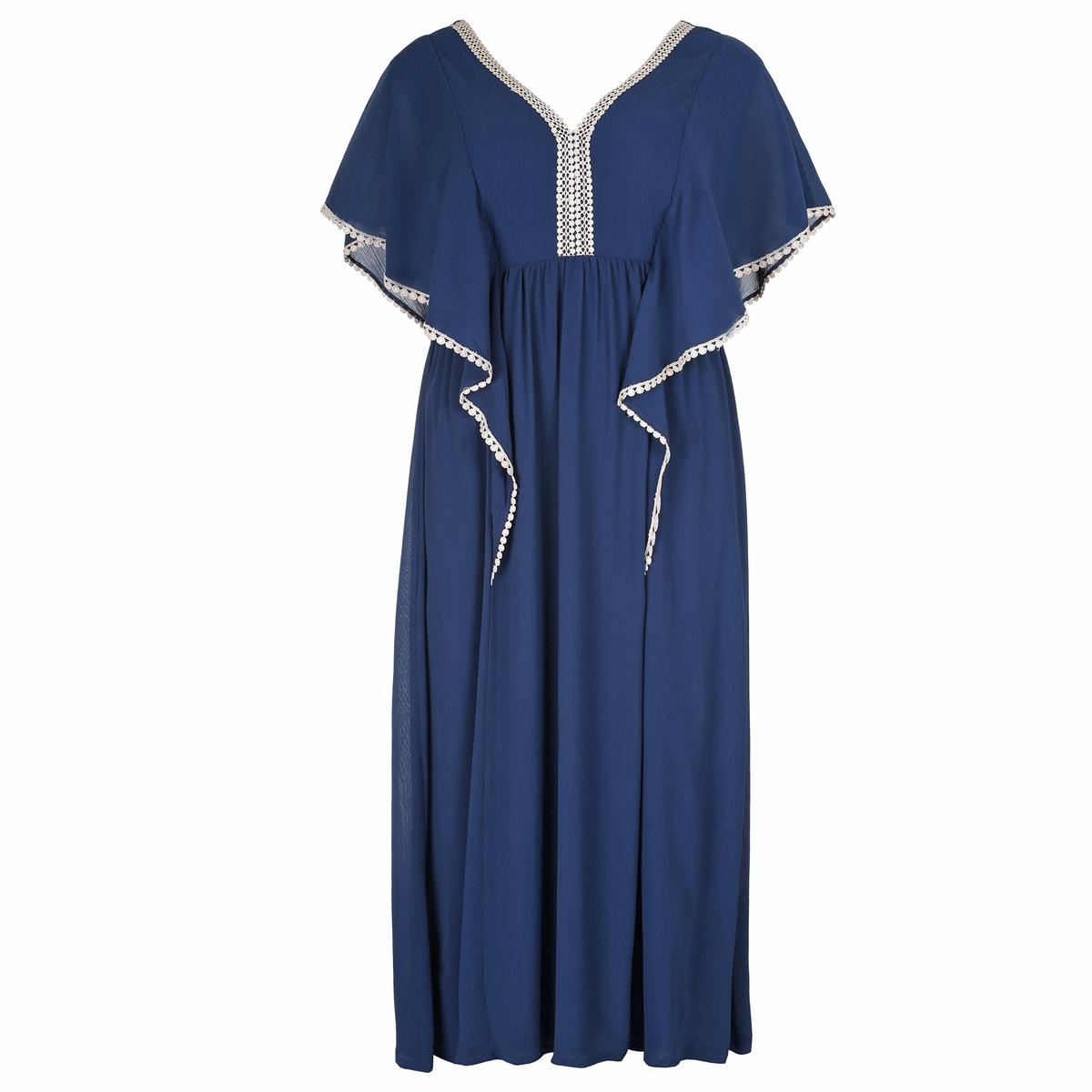 ПлатьеПлатье-макси MAT FASHION.Длинный расклешенный покрой, приталенное платье, эластичная спинка. Короткие рукава с воланами. V-образный вырез и рукава украшены кружевом золотистого цвета. 100% полиэстер<br><br>Цвет: синий<br>Размер: 44/46 (FR) - 50/52 (RUS)