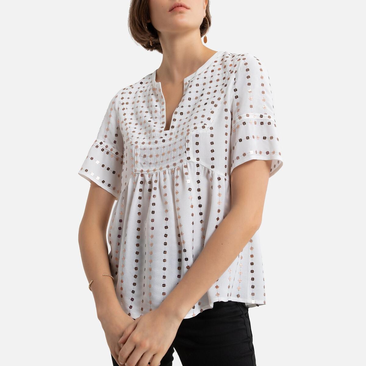 Фото - Блузка LaRedoute С V-образным вырезом и короткими рукавами 2(M) белый футболка laredoute из льна с v образным вырезом и короткими рукавами s черный