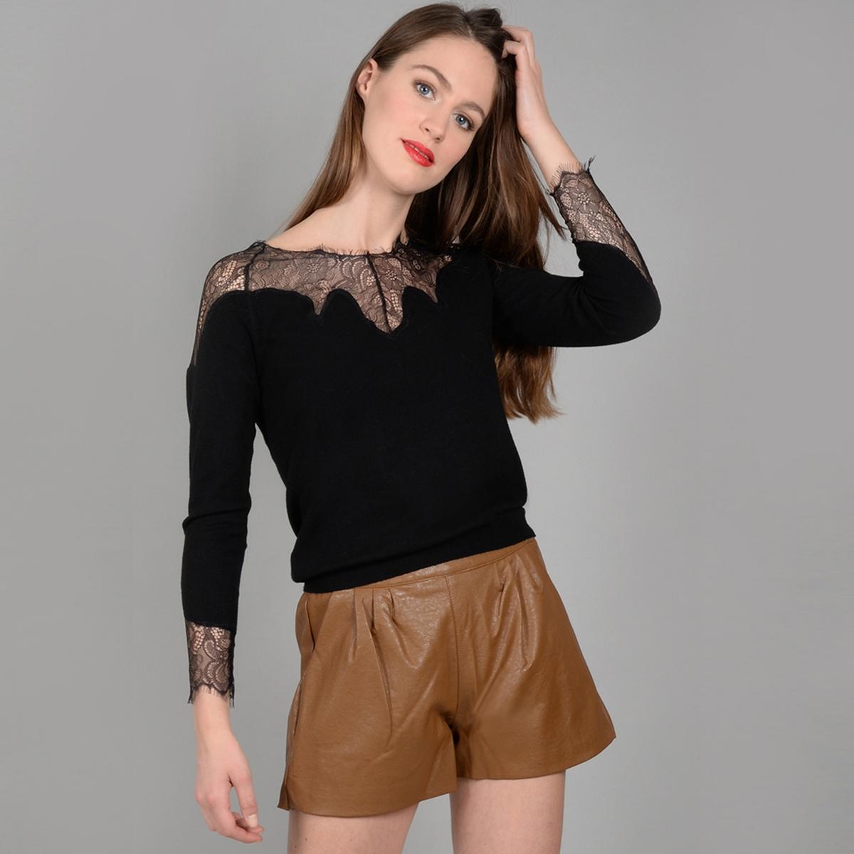 Пуловер из тонкого трикотажа с кружевом на вырезе MOLLY BRACKEN