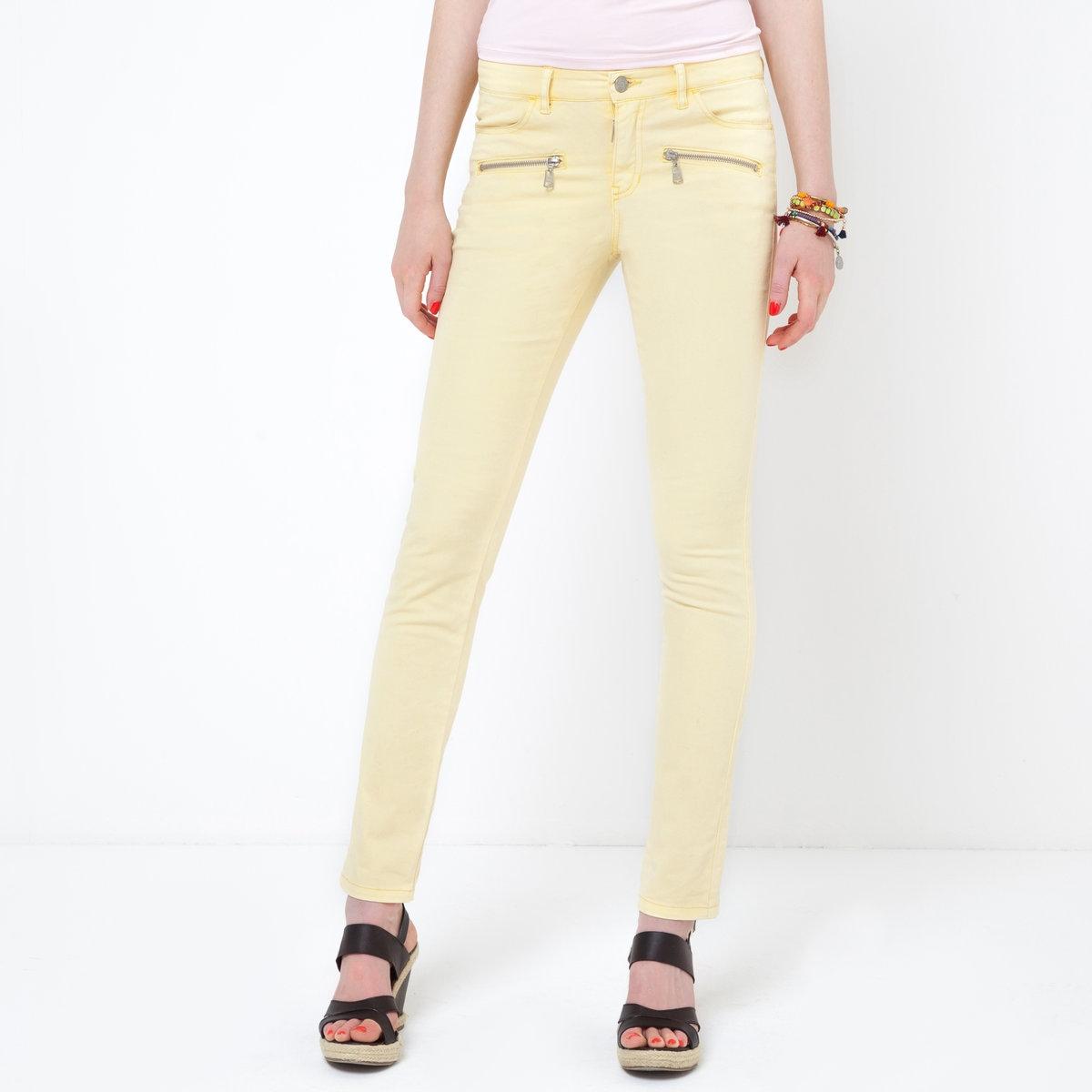 Брюки, длина ок.78 смЦветные брюки Soft Grey. Материал стретч, 98% хлопка, 2% эластана. 2 косых кармана на молнии спереди. Длина по внутр. шву 78 см. Ширина по низу 14,5 см.<br><br>Цвет: желтый<br>Размер: 34 (FR) - 40 (RUS)
