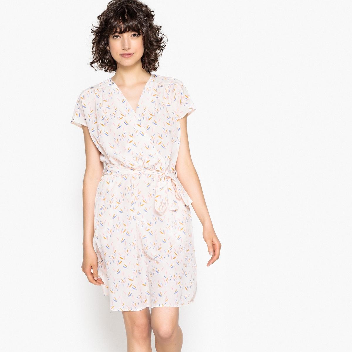 Платье-кимоно с принтом с эффектом блузки блузки и рубашки