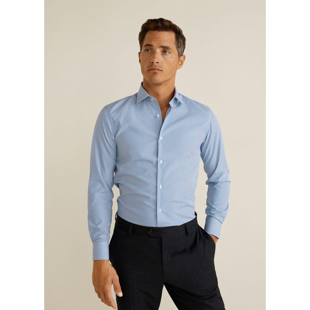 Chemise slim-fit coton à rayures