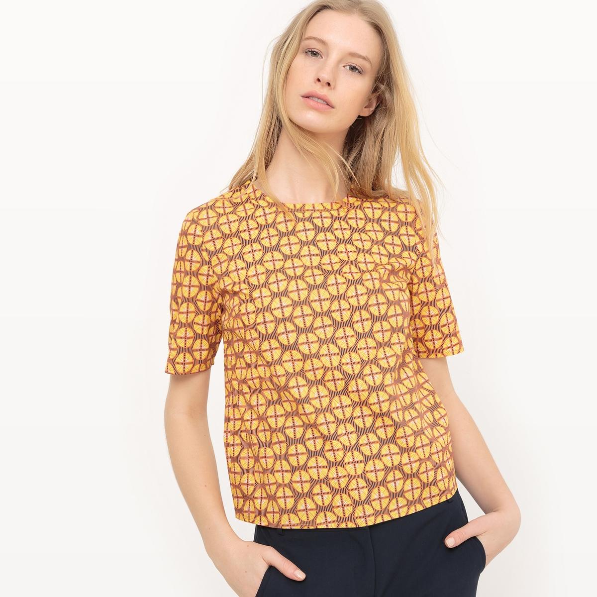 Блузка короткая из хлопка с геометрическим принтом