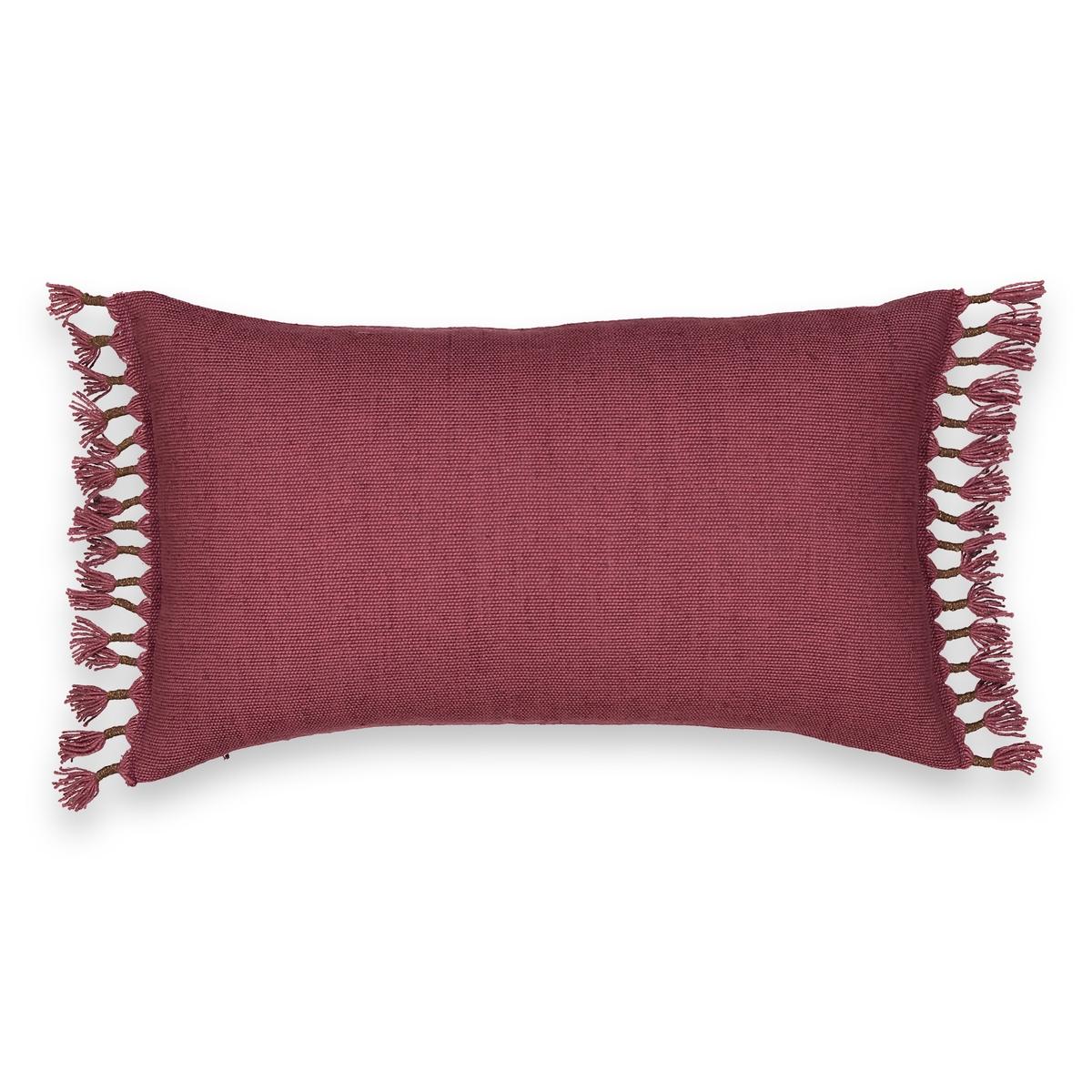 Чехол на подушку-валик из хлопка и льна, TimbolaОписание:Чехол на подушку-валик Timbola.  Плотная ткань из хлопка и льна, с 2 сторон изящные кисточки, связанные вручную. 50% льна, 50% хлопка. Стирать при 30°C. Размер : 50 x 30 см.  Подушка продается отдельно.<br><br>Цвет: бордовый