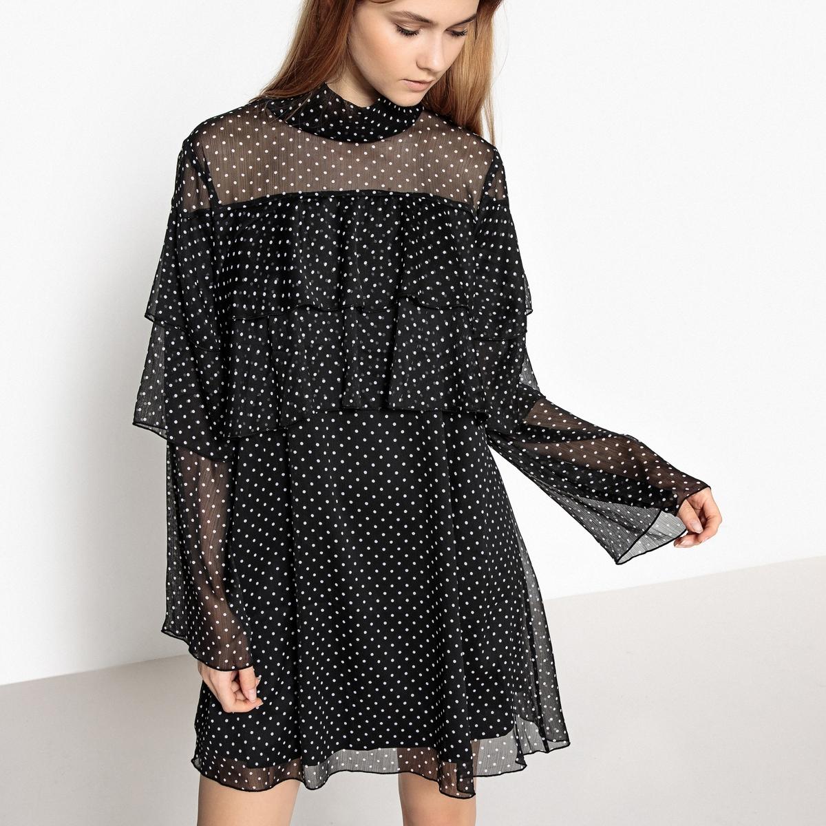 Платье с воланами, принт в горошек