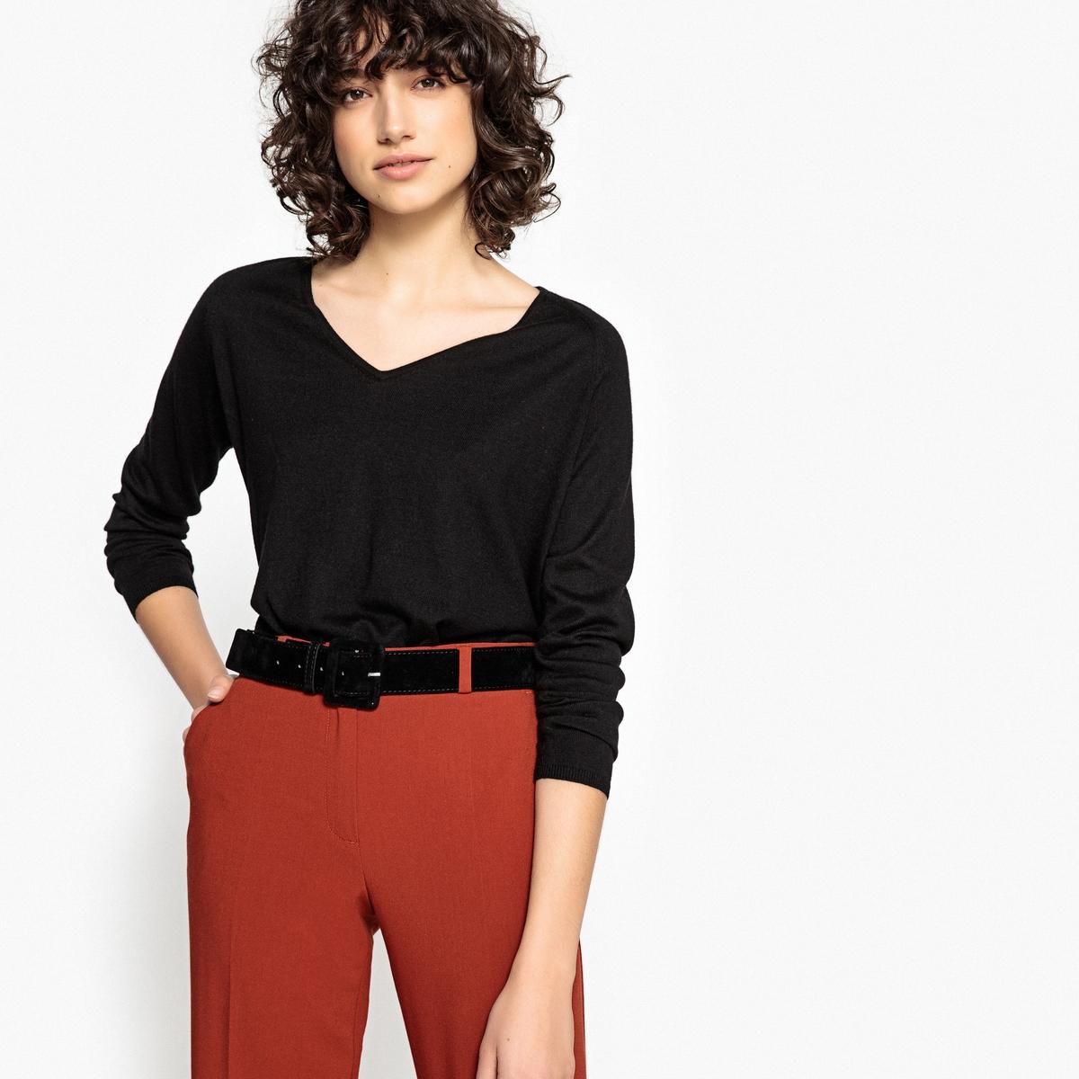 Пуловер из тонкого трикотажа с V-образным вырезомОписание:Детали •  Длинные рукава •   V-образный вырез •  Тонкий трикотажСостав и уход •  60% вискозы, 40% хлопка •  Следуйте рекомендациям по уходу, указанным на этикетке изделия •  Длина  : 55<br><br>Цвет: зеленый,розовый фуксия,серый,темно-бежевый,черный