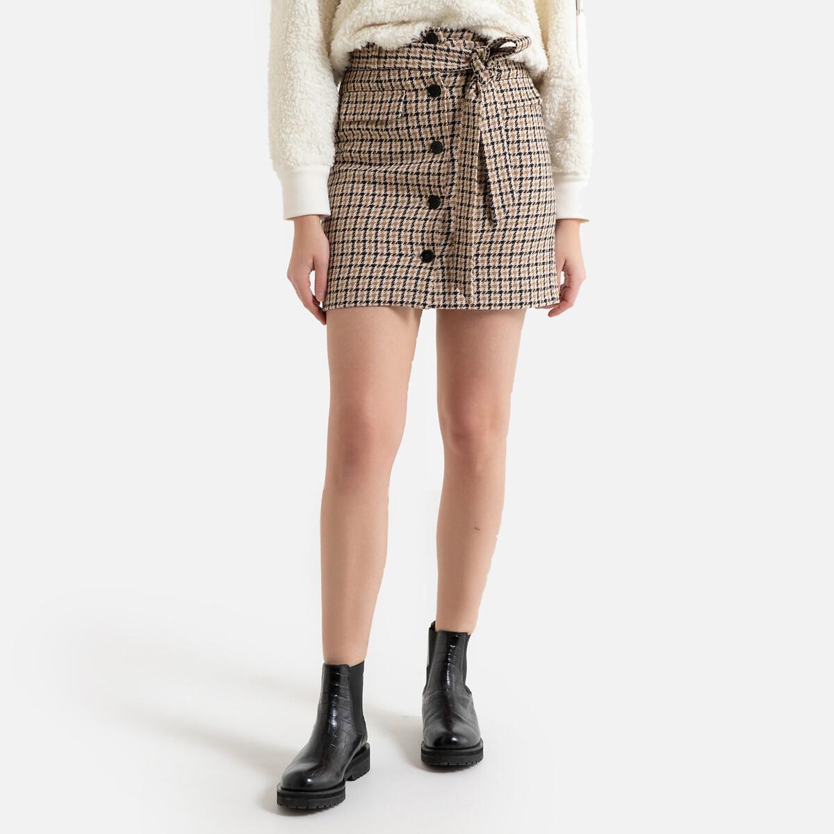 Юбка La Redoute Короткая в клетку с застежкой на пуговицы 2(M) бежевый юбка жаккардовая короткая