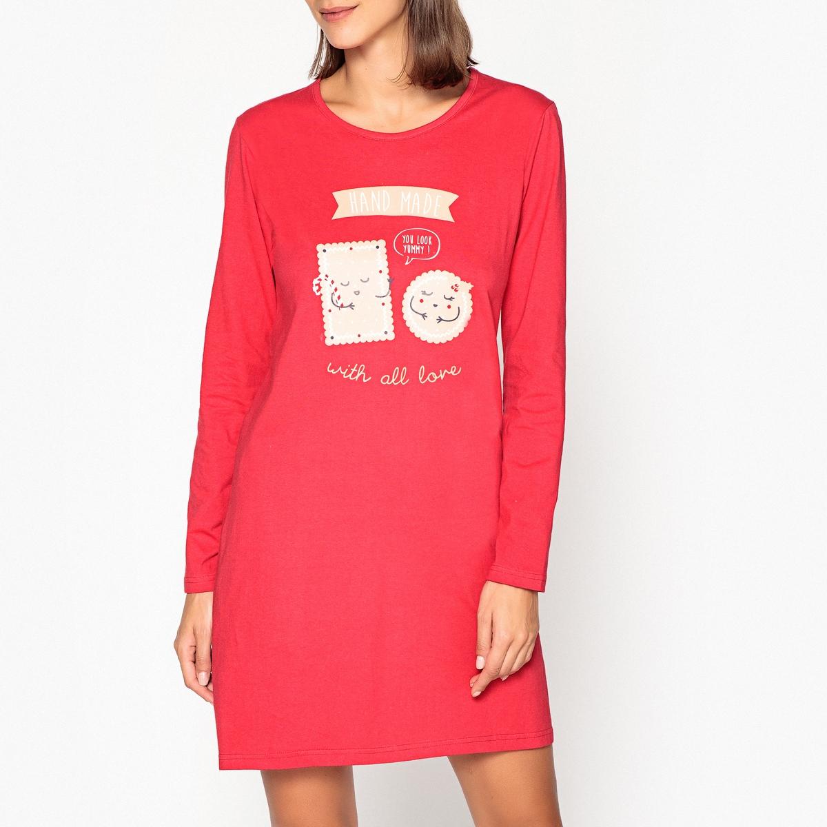 Рубашка ночная с принтом и длинными рукавами ostin рубашка с новогодним принтом