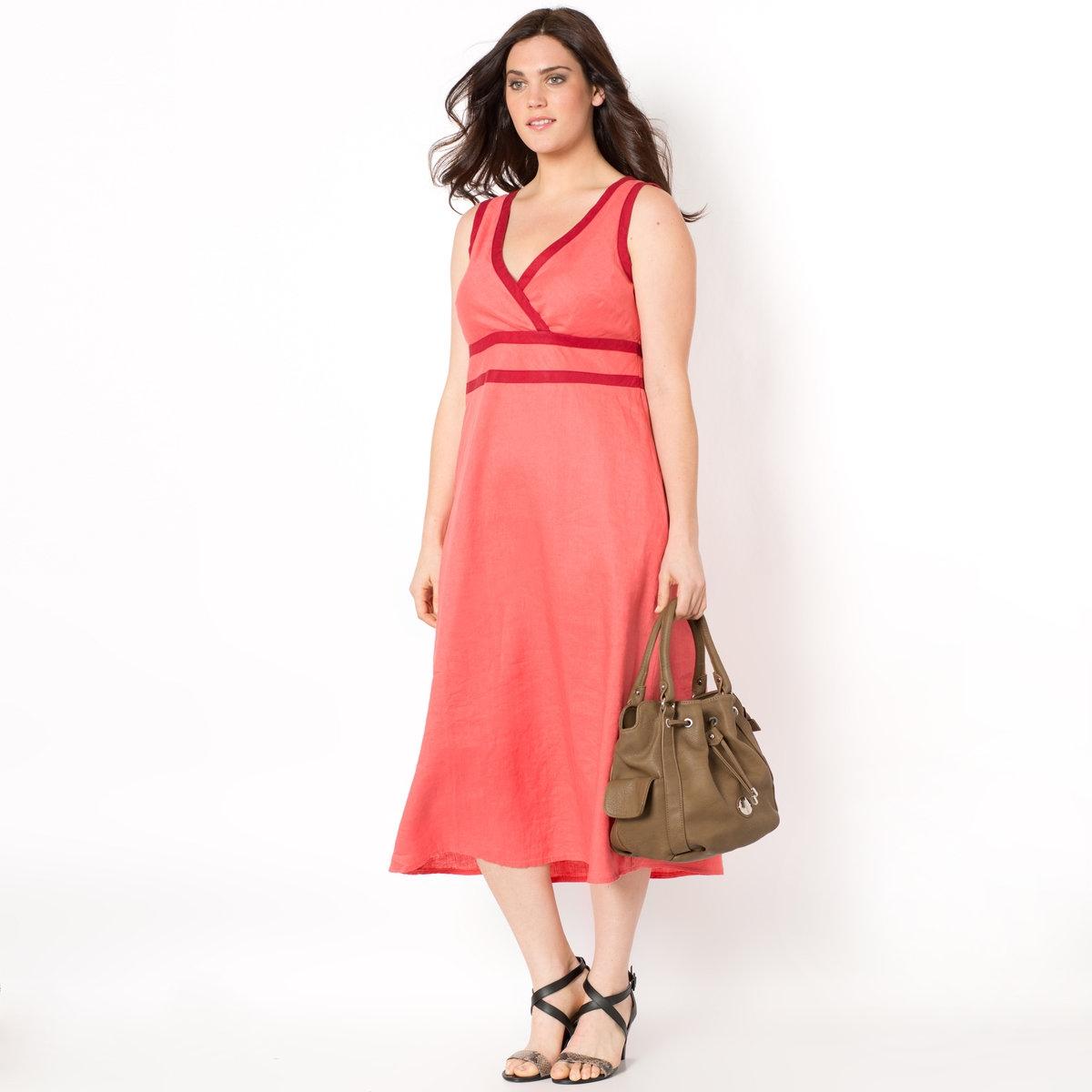 Платье длинное, 100% хлопкаДлинное платье. Невероятно элегантное платье! Без рукавов. Рисунок пальмы. Вырез с запахом с отрезной деталью под грудью. Контрастный кант на вырезе и плечах. Скрытая застежка на молнию сбоку. 100% льна. Длина платья 120 см.<br><br>Цвет: коралловый,рисунок пальмы<br>Размер: 42 (FR) - 48 (RUS).46 (FR) - 52 (RUS).44 (FR) - 50 (RUS).46 (FR) - 52 (RUS)