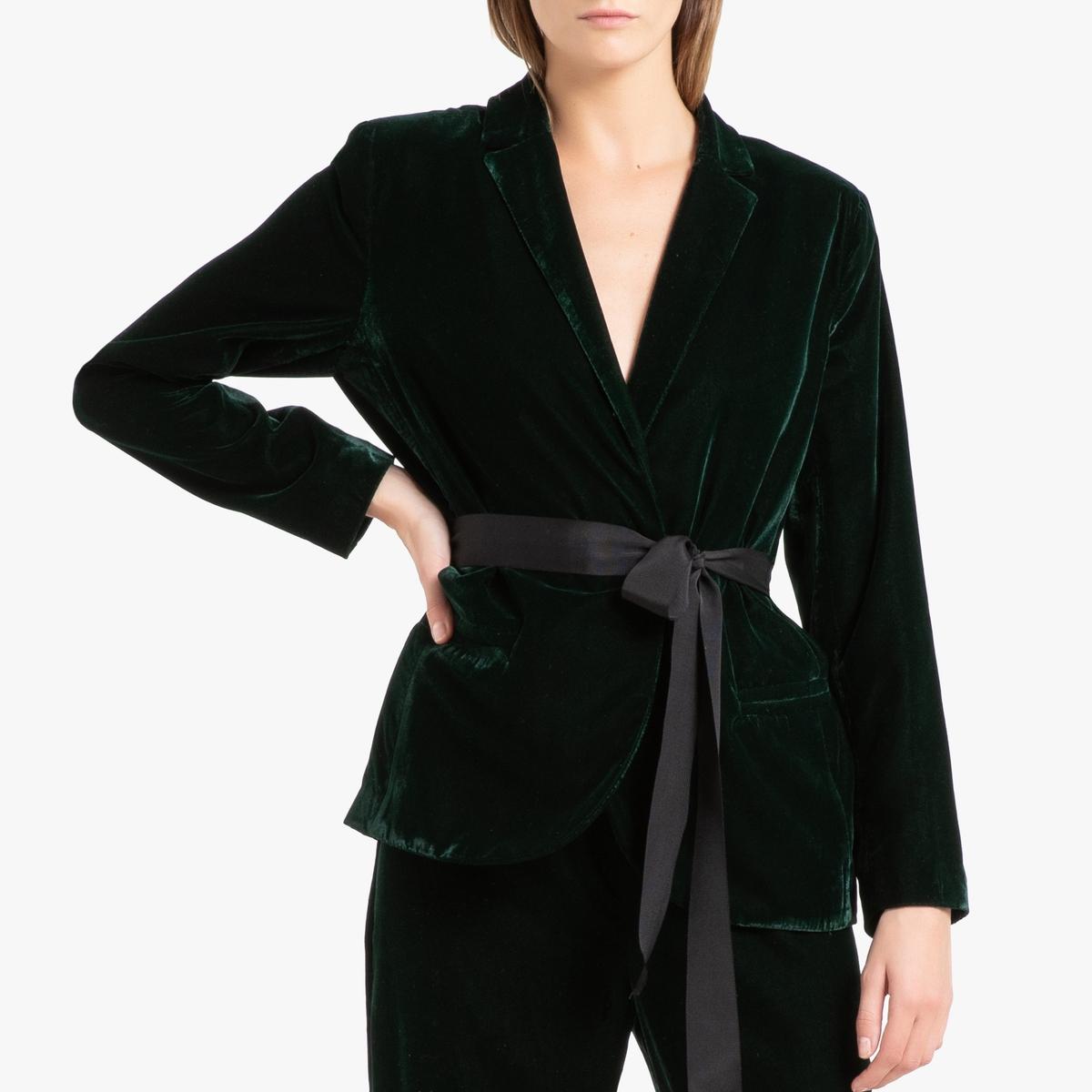 Блейзер La Redoute Прямого покроя из велюра WILFRIED S зеленый платье прямого покроя средней длины с капюшоном из велюра