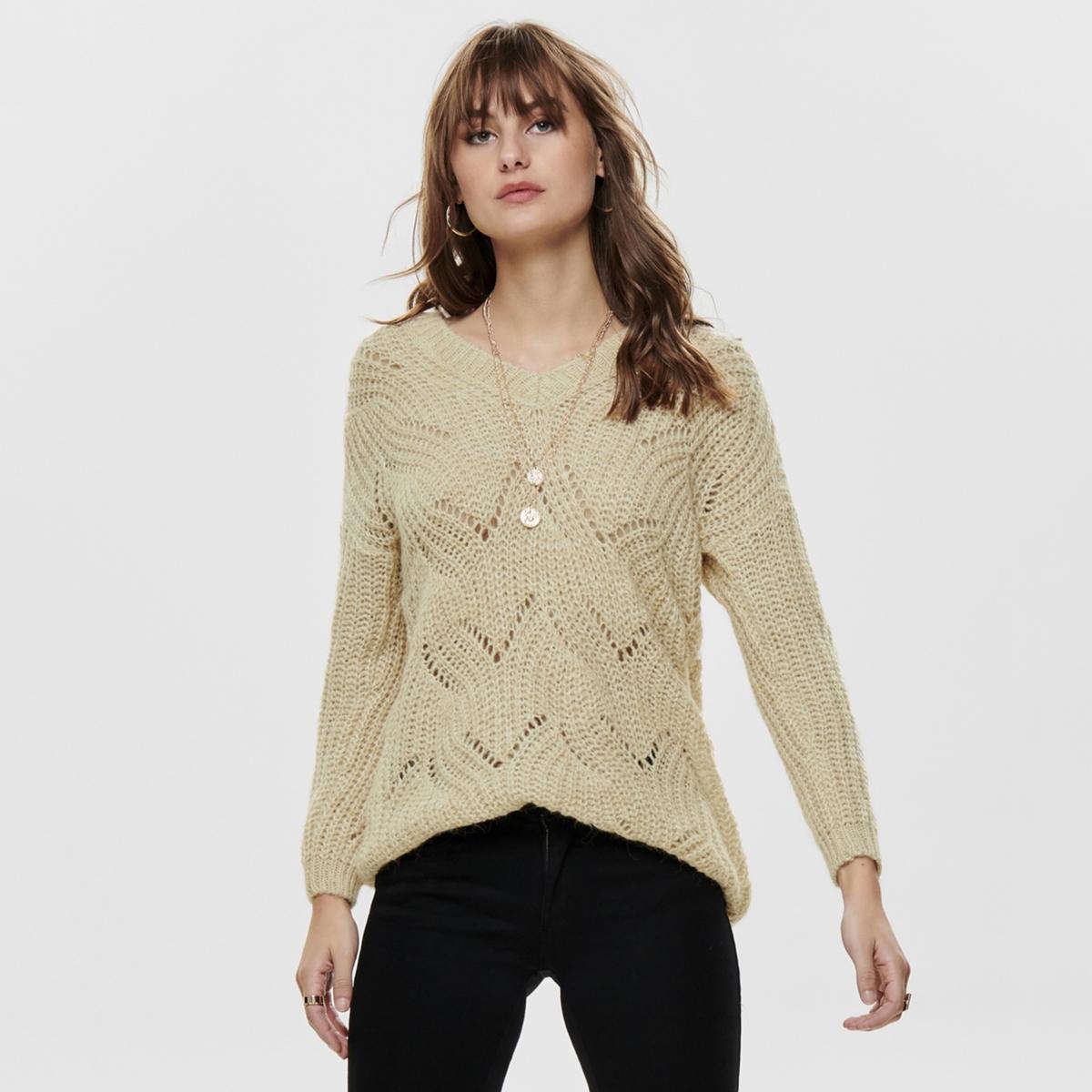 Пуловер La Redoute С V-образным вырезом из плотного трикотажа L бежевый пуловер la redoute из тонкого трикотажа со шнуровкой l бежевый
