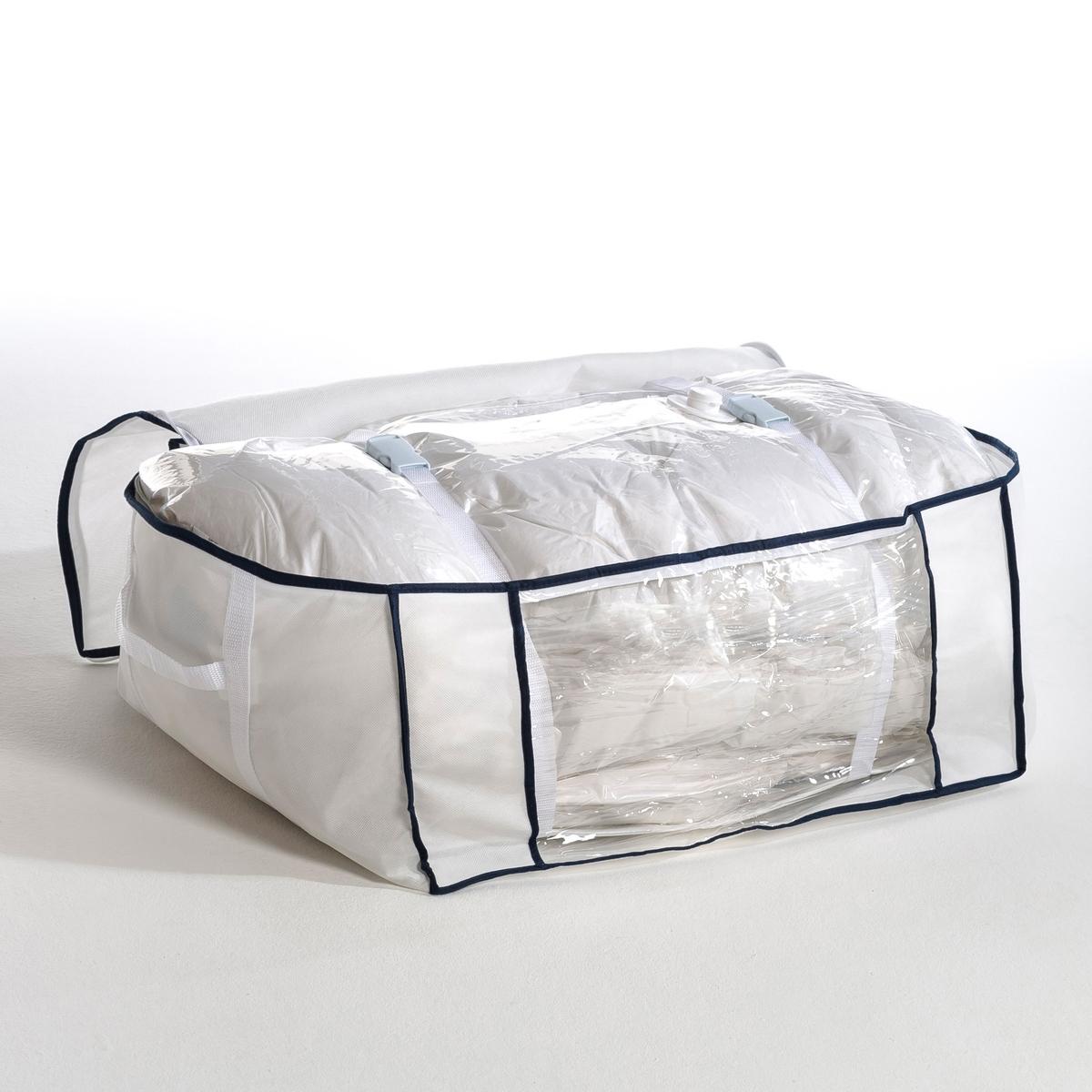 Чехол вакуумный, Ш.62 x В.27 x Г.49,5 смЭкономия места до 75%! Идеально подходит для поездок, так как позволяет значительно экономить место в багаже.Описание вакуумного чехла :Пакет с защитным чехлом внутри просто необходим для организации хранения Ваших вещей, одеял, покрывал и подушек.Всасывание воздуха пылесосом.2 стягивающих ремня для удержания вещей в сжатом состоянии.Характеристики вакуумного чехла :Нетканый материалВнутренний пакет из прозрачного пластикаЗастежка на молнию.Размеры вакуумного чехла :Ш.62 x В.27 x Г.49,5 см, размеры внутреннего пакета : Ш.109 x В.97 x Г.48 см.<br><br>Цвет: белый<br>Размер: единый размер