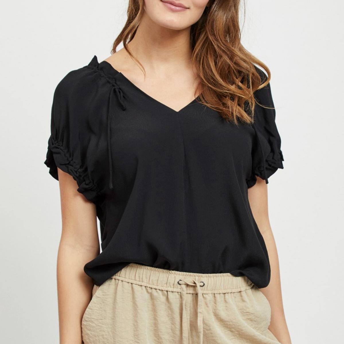 цена на Блузка La Redoute С V-образным вырезом и короткими рукавами с воланами Viflonas XS черный